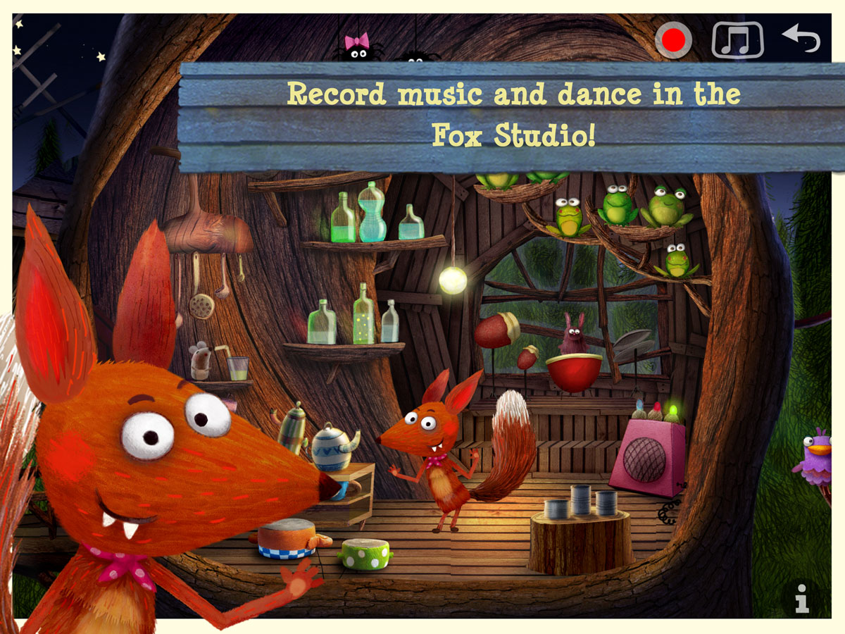 Little Fox Nursery Rhymes App – record music and dance in the tree house studio