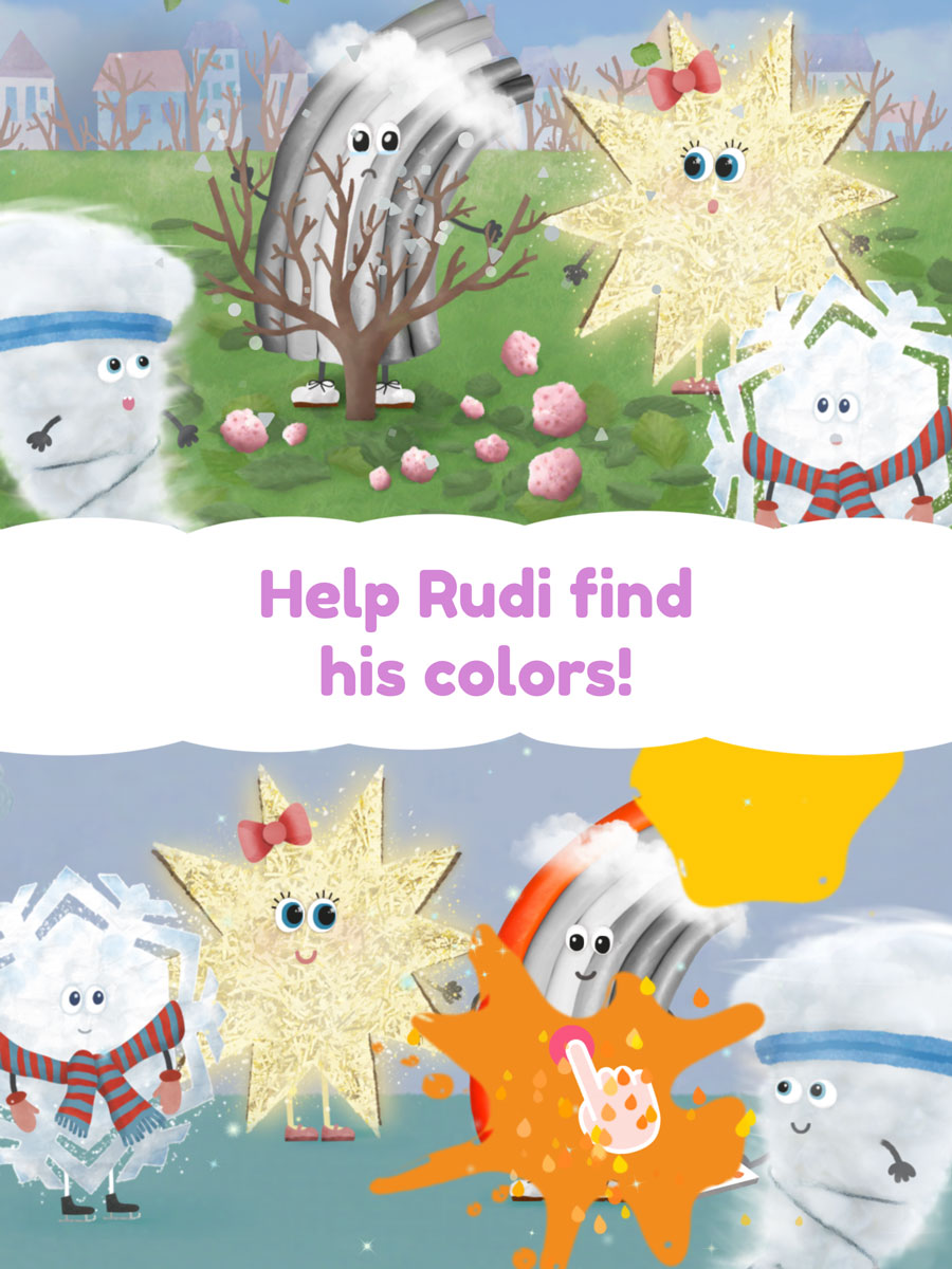 Rudi Rainbow App for Kids – help Rudi find his lost colors