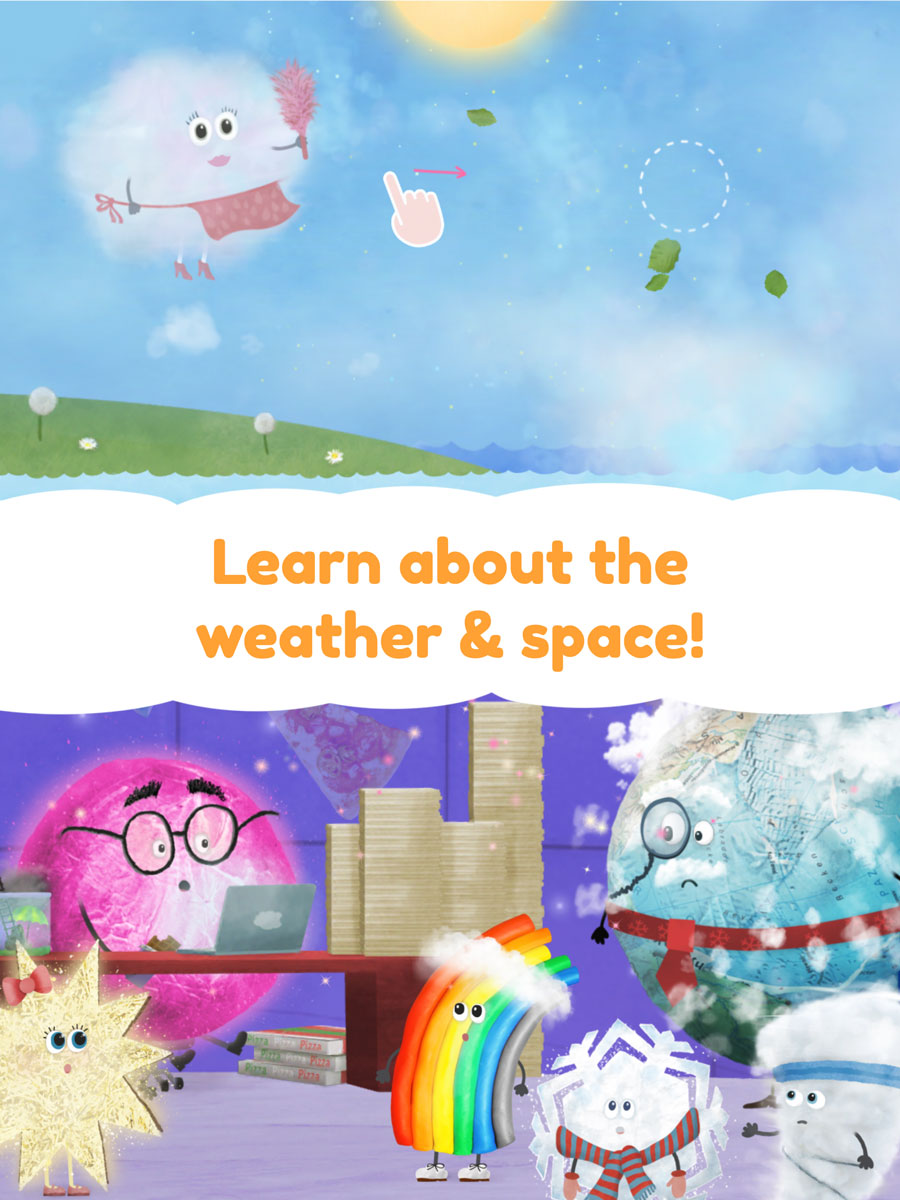 Rudi Rainbow App for Kids – learn about the weather and space