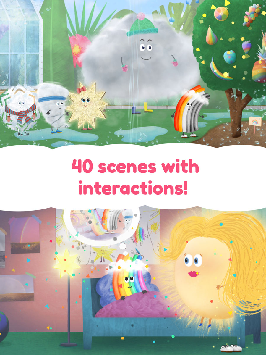 Rudi Rainbow App for Kids – 40 beautiful scenes with interactive objects