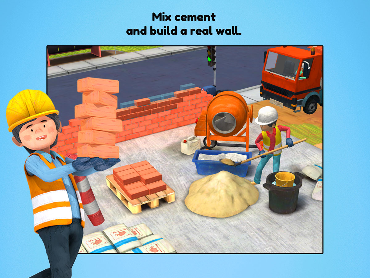 Little Builders App for kids – Mix cement and build a real wall