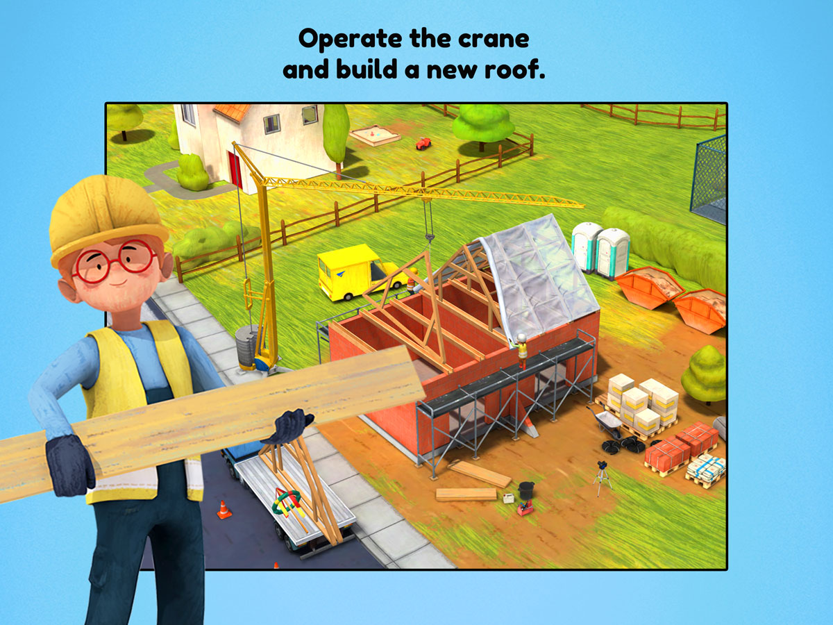 Little Builders App for kids – Operate the crane and build a new roof