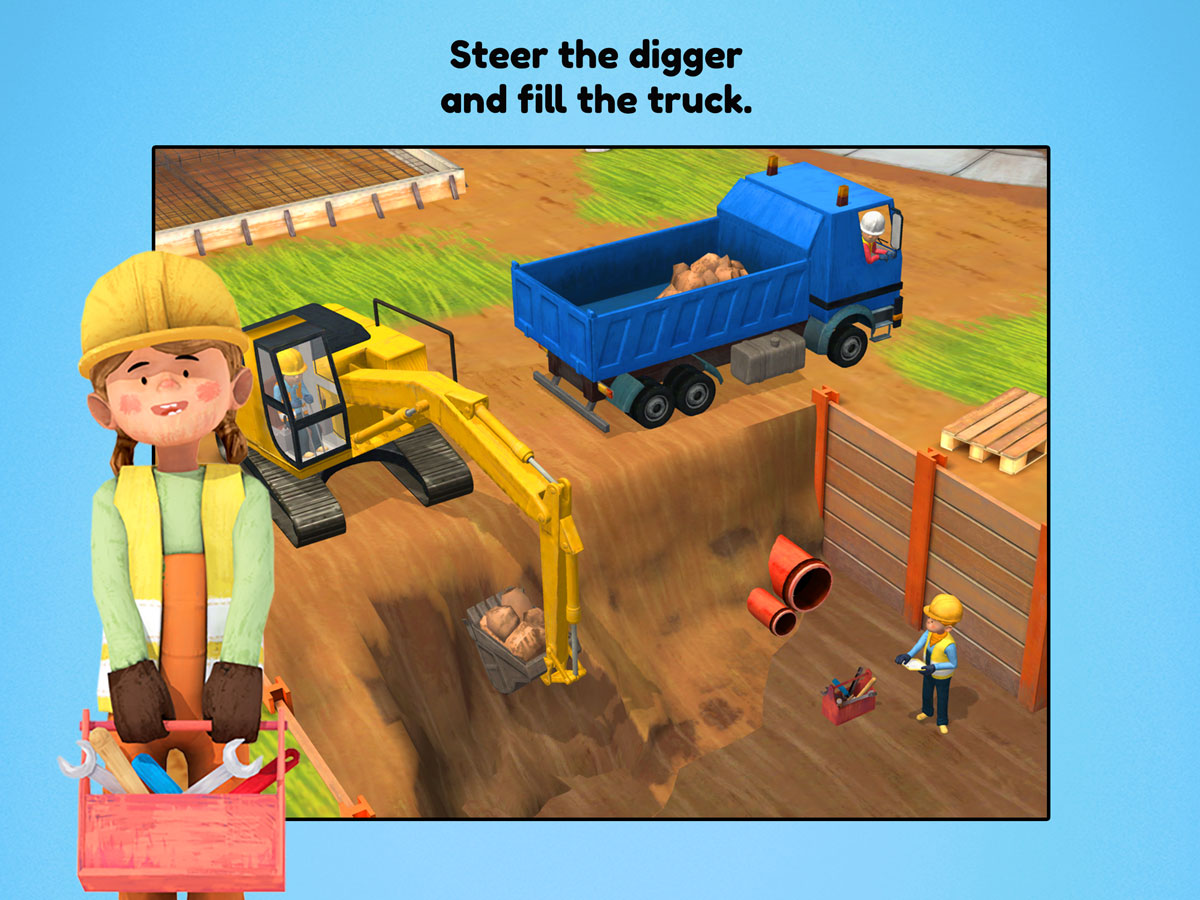 Little Builders App for kids – Steer the digger and fill the truck