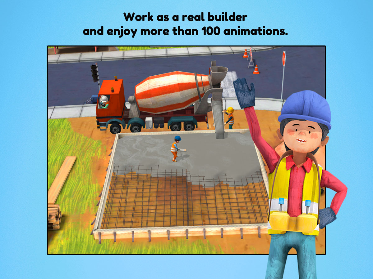 Little Builders App for kids – work as a real builder and enjoy over 100 animations