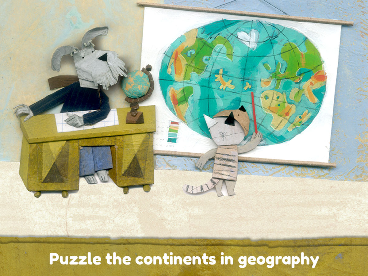 Lucy & Pogo App – Puzzle the continents in the geography lesson