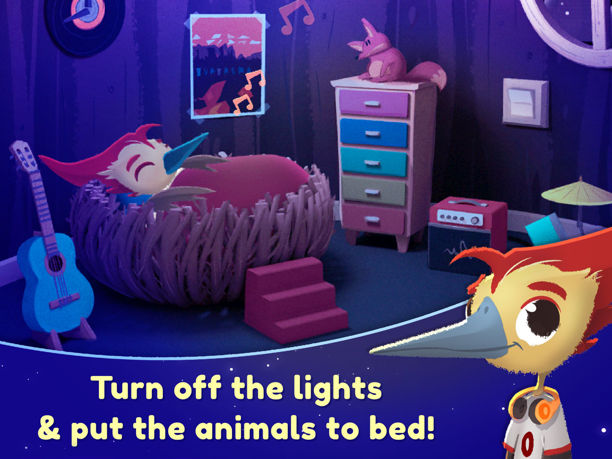 Nighty Night Forest Kids App for iPhone, iPad and Android – lovely character design