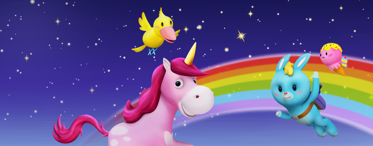 Unicorn Glitterluck – style your own unicorn and jump through magical worlds