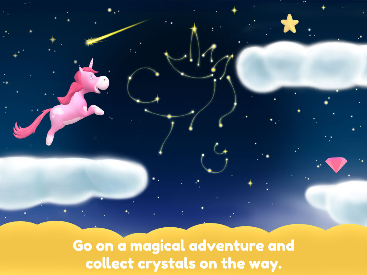 Unicorn Glitterluck – go on a magical adventure and collect crystals