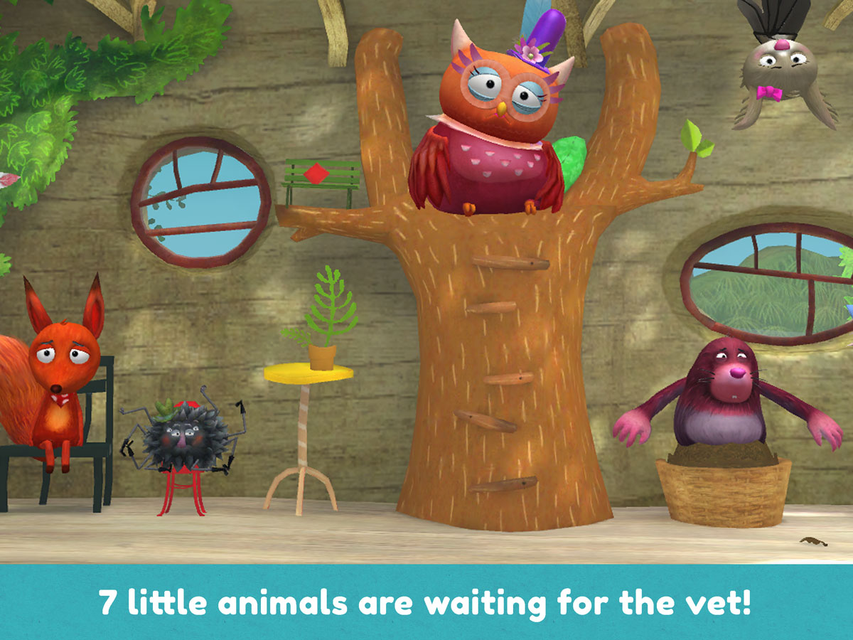 Little Fox Animal Doctor App – 7 little animals waiting for the vet