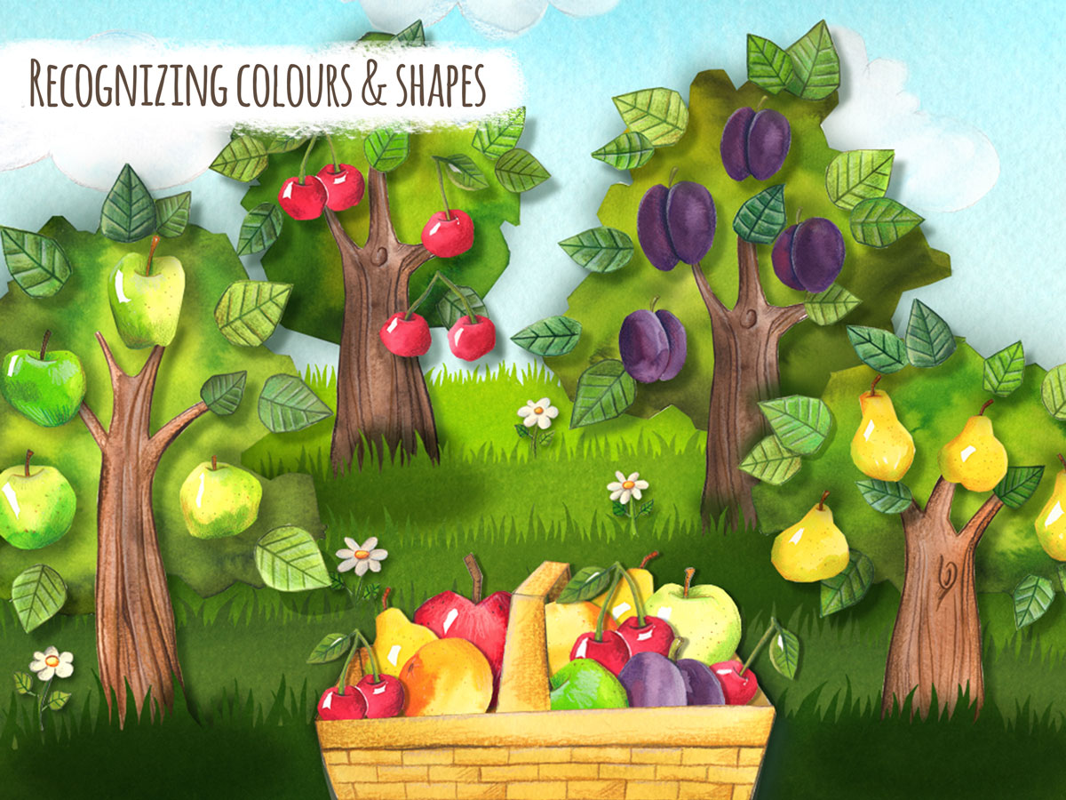 The Orchard boardgame app by HABA – learn recognizing colors and shapes