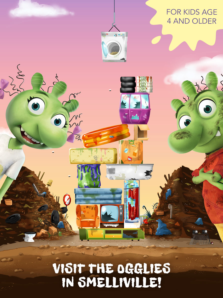 The Ogglies Kids App – Build the highest trash tower!